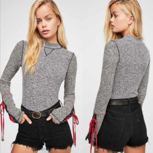 Free People NWT waffle thermal lace up tie cuff XS